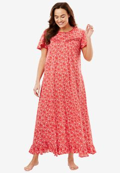 Long Cotton Gown by Dreams & Co®, CORAL RED FLORAL