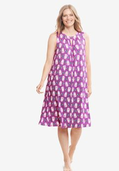 Printed Sleeveless Sleepshirt ,