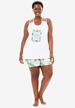 Racerback Cami Shorty PJ Set by Dreams & Co.®, WHITE PALM, hi-res