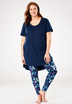 Graphic Tunic PJ Set by Dreams & Co.®, NAVY BUTTERFLY