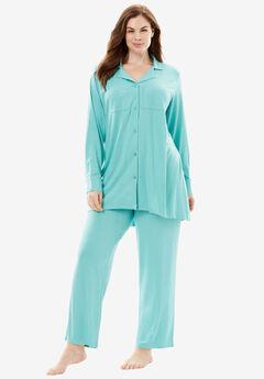 Downtime Sleepwear Solid PJ Set by Dreams & Co.®, AZURE, hi-res