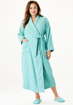 Long terry robe with FREE matching slippers by Dreams & Co®, AZURE, hi-res