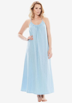 Breezy Eyelet Knit Long Nightgown by Dreams & Co.®, CRYSTAL SEA, hi-res