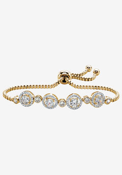 "Yellow Gold-Plated Halo Strand Bracelet (8mm), CZ, 9"" Adjustable,"