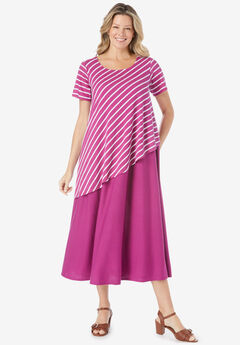 Asymmetric knit popover dress,