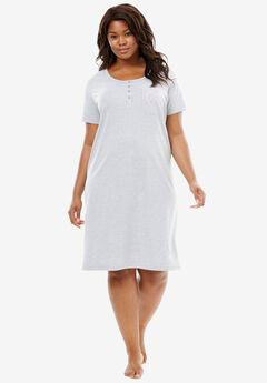 Cotton Sleepshirt, HEATHER GREY, hi-res