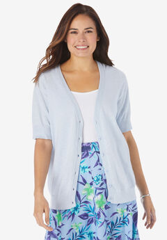 Short Sleeve V-Neck Cardigan,