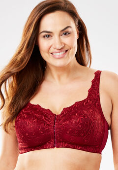 Scroll Embroidered Wireless Front-Close Bra by Amoureuse®, POMEGRANATE