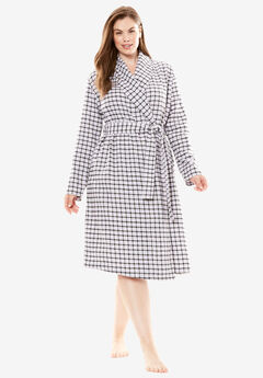 Flannel Wrap Robe by Dreams & Co.®, BRIGHT LILAC PLAID, hi-res