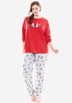 Holiday Print PJ Set by Dreams & Co.®, PALE SKY PENGUINS, hi-res