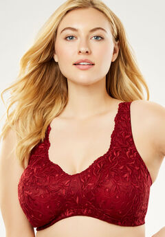 Embroidered Wireless Back-Close Bra by Amoureuse®,