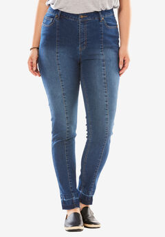 Stretch Front Seam Jean, MEDIUM STONEWASH SANDED, hi-res