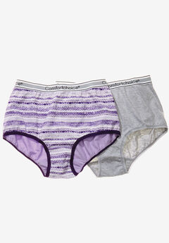 2-Pack Stretch Cotton Full-Cut Sports Brief by Comfort Choice®, LILAC IKAT STRIPE, hi-res