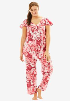 Luxe Satin PJ Set by Amoureuse®, RUBY BERRY FLORAL, hi-res