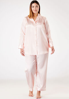 Luxe Satin Pajama Set by Amoureuse®, SHELL PINK, hi-res