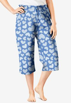 Knit Sleep Capri by Dreams & Co.®, FRENCH BLUE HEART