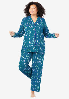 2-Piece Classic Pajama Set By Dreams & Co.®, DEEP TEAL MOOSE