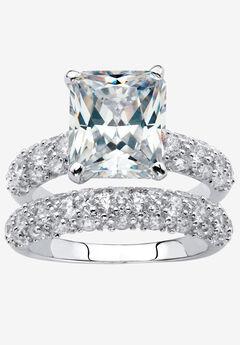 Platinum-Plated Emerald Cut Bridal Ring Set Cubic Zirconia,