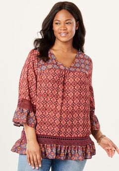 Crochet Trim Ruffle Blouse,
