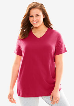 V-Neck Sleep Tee by Dreams & Co.®, CLASSIC RED