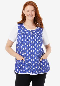 Snap-Front Apron by Only Necessities, ULTRA BLUE SNOWMAN