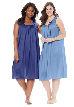 2-Pack Sleeveless Nightgown by Only Necessities®, GARDEN ROSE ROYAL NAVY, hi-res