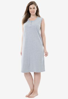 Sleeveless Henley Sleepshirt by Dreams & Co®, HEATHER GREY, hi-res