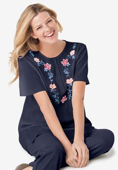 Embroidered Pointelle Tunic, NAVY FLORAL EMBROIDERY