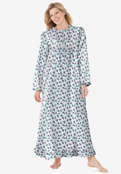 Long Flannel Nightgown by Only Necessities®, WHITE FLORAL