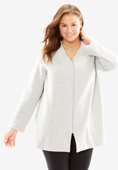 Quilted Fleece Short Bed Jacket by Only Necessities®, HEATHER GREY, hi-res