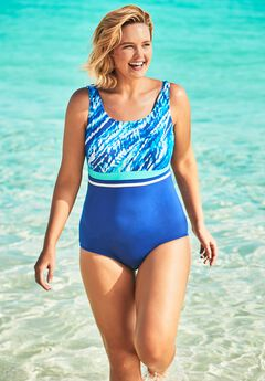 Empire-Waist Swimsuit with Molded Bra ,