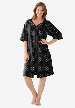 Short French Terry Zip-Front Robe , BLACK DOT