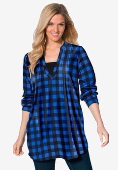 Flannel Tunic With Layered Look,