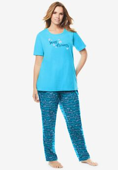 Graphic Tee PJ Set , DEEP TEAL SWEET DREAMS
