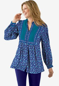 Button-Front Mixed Print Tunic,