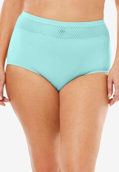 Comfort Choice® Lace-trim Microfiber Brief, FRESH AQUA, hi-res