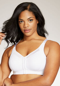 Satin-Trim Posture Bra by Comfort Choice®, WHITE
