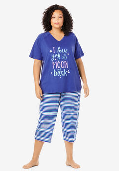 Knit Capri PJ Set by Dreams & Co®, BLUE SAPPHIRE STRIPE