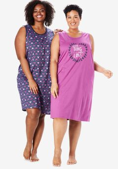 2-Pack Sleeveless Sleepshirts by Dreams & Co.,