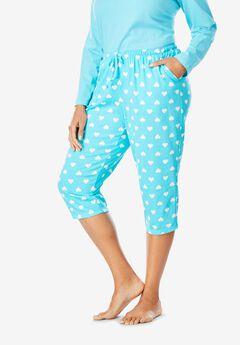 Knit Sleep Capri by Dreams & Co.®, CARIBBEAN BLUE HEARTS