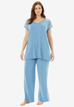 Lace-Trim Tee PJ Set with Wide Leg Pants by Amoureuse®, FOUNTAIN BLUE, hi-res