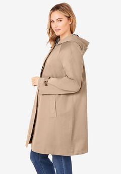 Printed Lining Hooded Raincoat,
