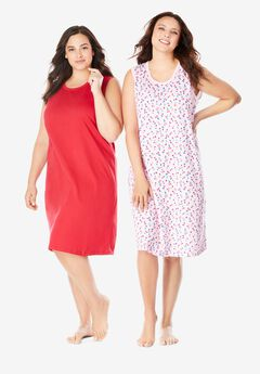 2-Pack Sleeveless Sleepshirt by Dreams & Co.®, PINK CHERRIES