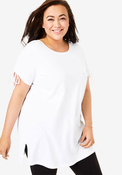 Perfect Ruched-Sleeve Scoop-Neck Tunic, WHITE