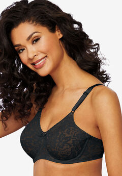 Bra with underwire and stretch lace by Bali®, BLACK