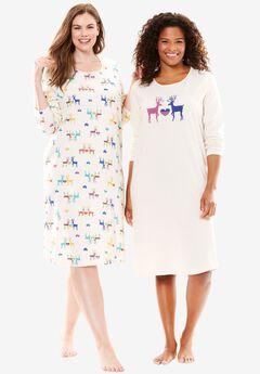 2-pack Knit Sleepshirts by Dreams & Co., MULTI REINDEER PRINT, hi-res