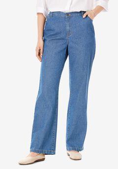 Back-Elastic Wide Leg Cotton Jean,