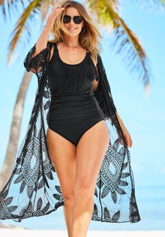 Open-Front Embroidered Cover Up by Swim 365,