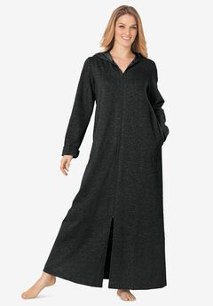 Hooded Fleece Robe by Dreams & Co.®, HEATHER CHARCOAL