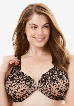 Embroidered Front-Close Underwire Bra by Amoureuse®, LIGHT TAUPE BLACK, hi-res